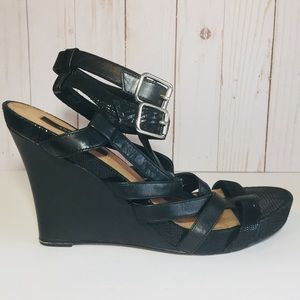Ann Taylor Black Strappy Wedge Sandal Leather 9